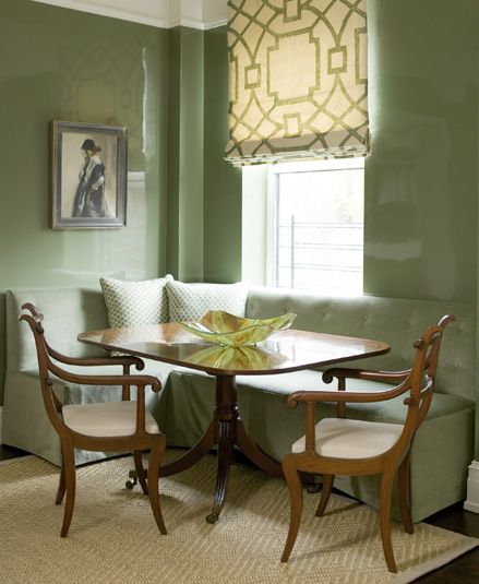 Green Dining Room: Gorgeous Green Dining Room With Glossy Green Lacquer Walls