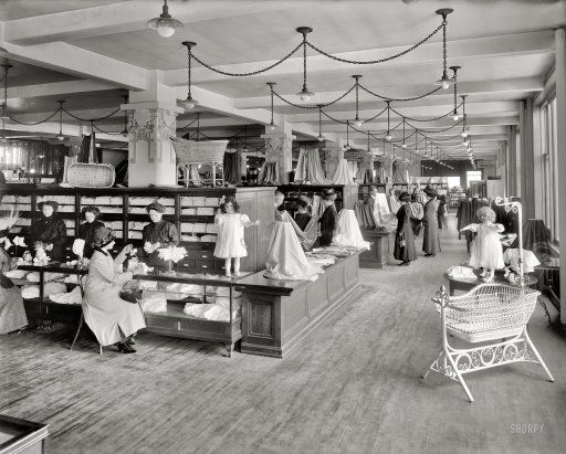 """Detroit circa 1912. """"Elliott, Taylor & Woolfenden -- north aisle."""" Wow...you know what this? This is the """"toy department"""" of an prototype department store. Look at how shopping was then...one lady waiting on you while you sat. Wow."""