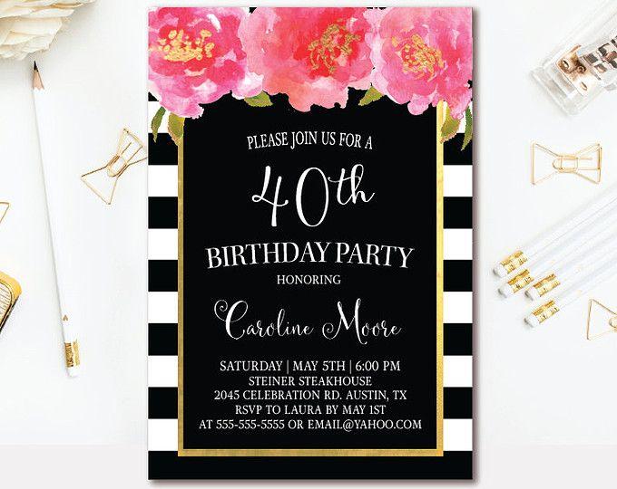 30th birthday invitation black white