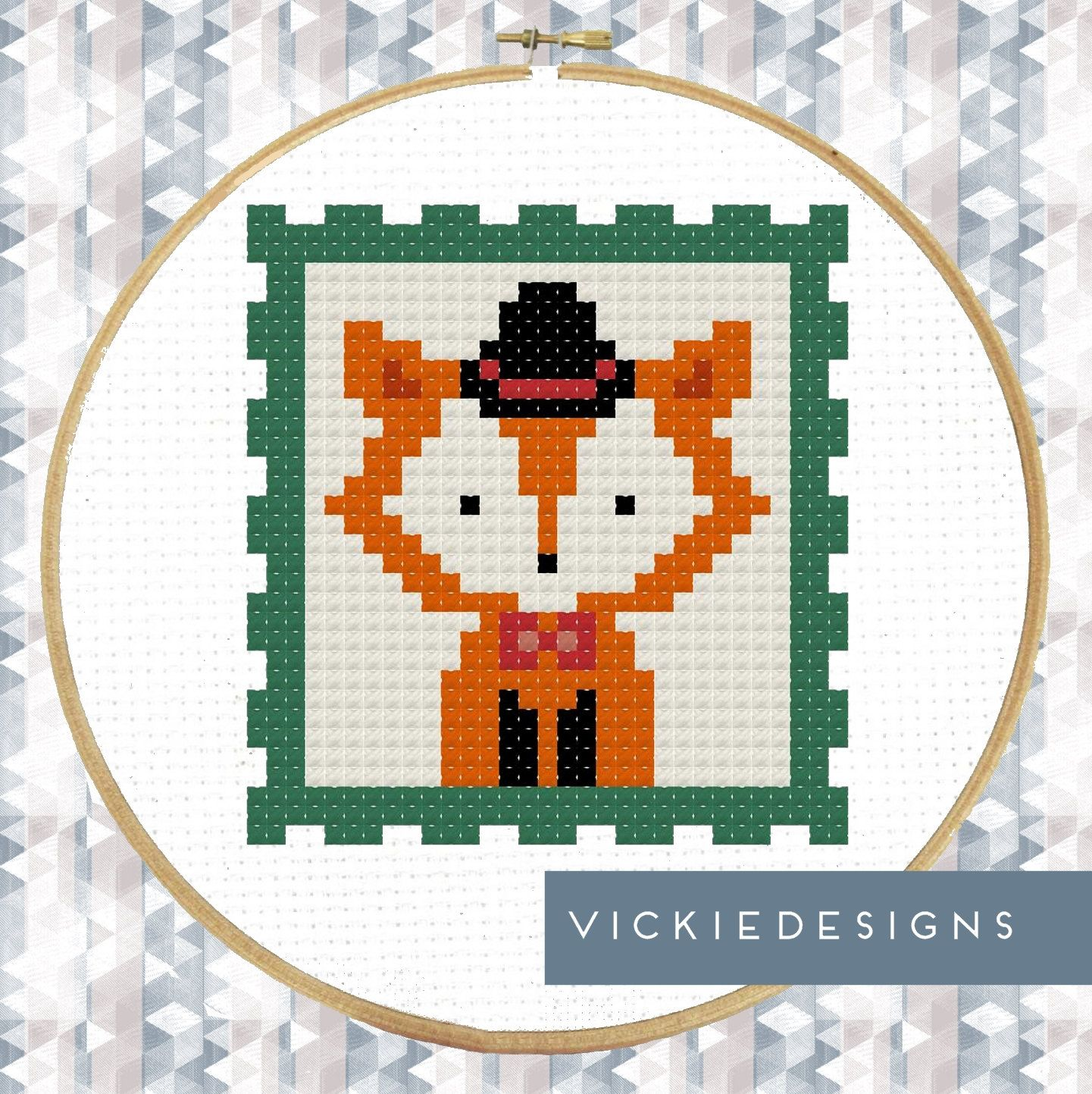 Fancy Gentleman Fox Foxes Bow Tie Top Hat Stamp by VickieDesigns