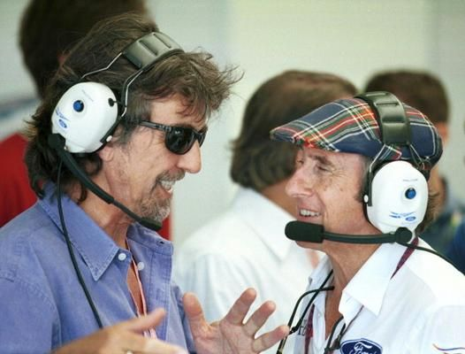 George Harrison and Jackie Stewart a Silverstone