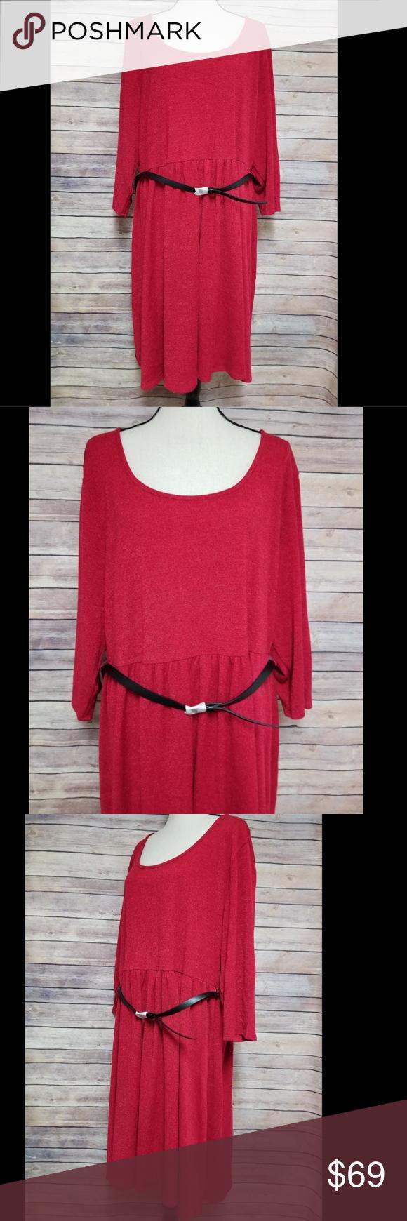 Torrid red sleeve hacci skater sweater dress nwt my posh