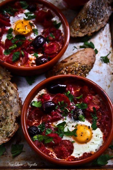 Baked Eggs With Chorizo by @Lorraine Elliott
