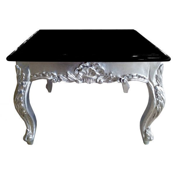 rococo carved coffee table in silver leaf & black top - affordable