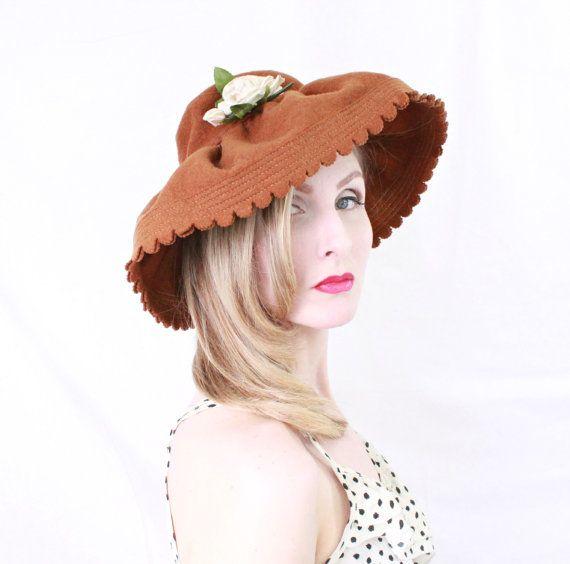 1930s Hat   VINTAGE   Wide Brim   30s Hat   Brown   Felted Wool   34d2e404a261
