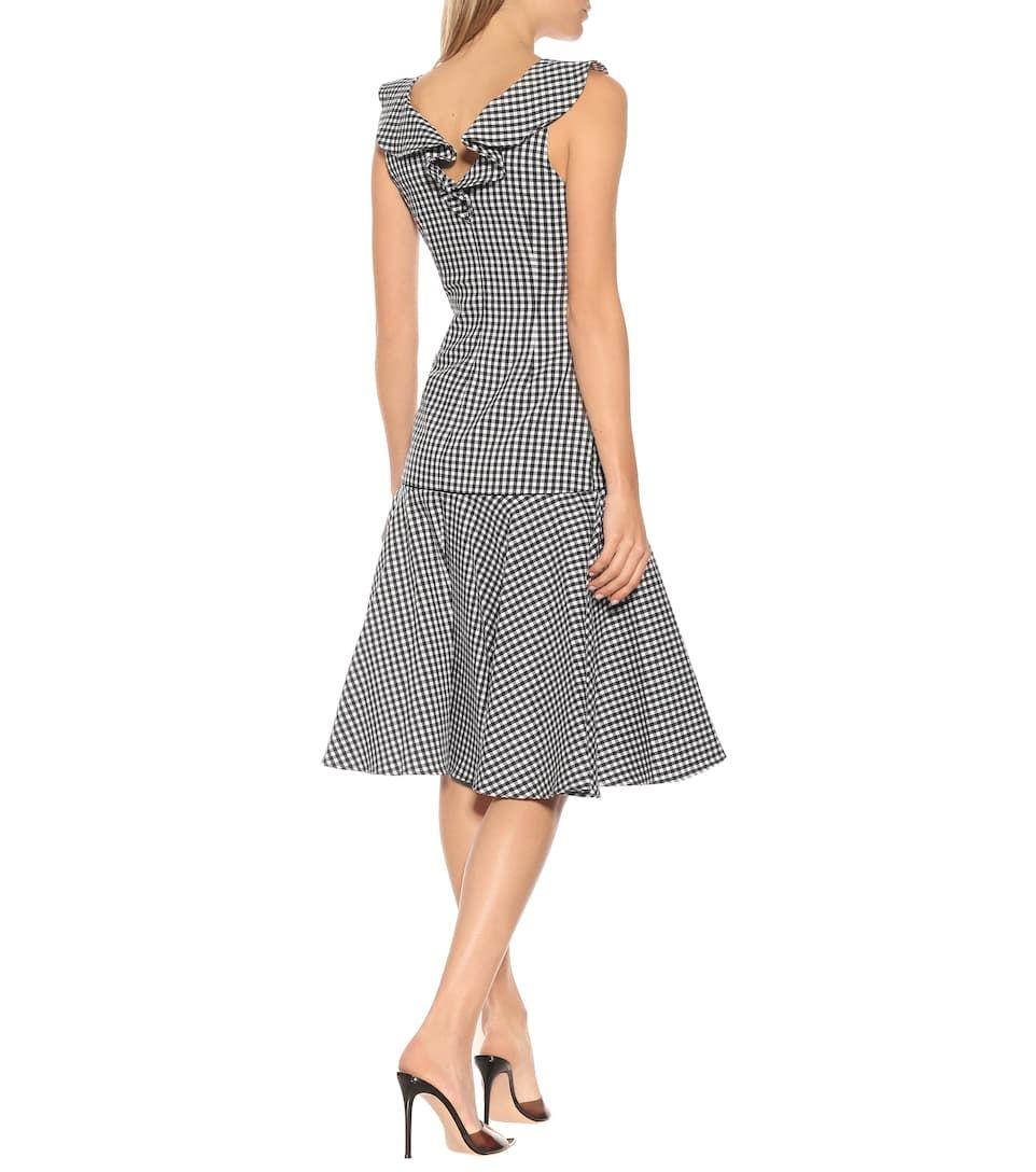 Checked cottonblend midi dress in 2020 cotton midi