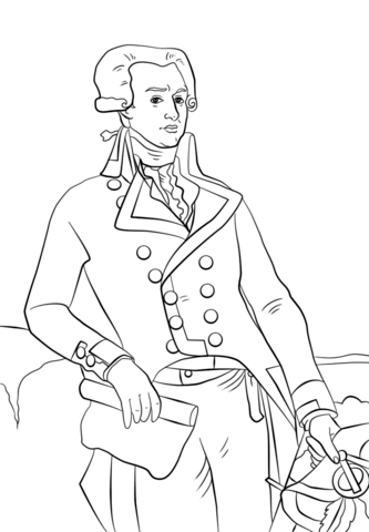 Marquis de Lafayette coloring page from American