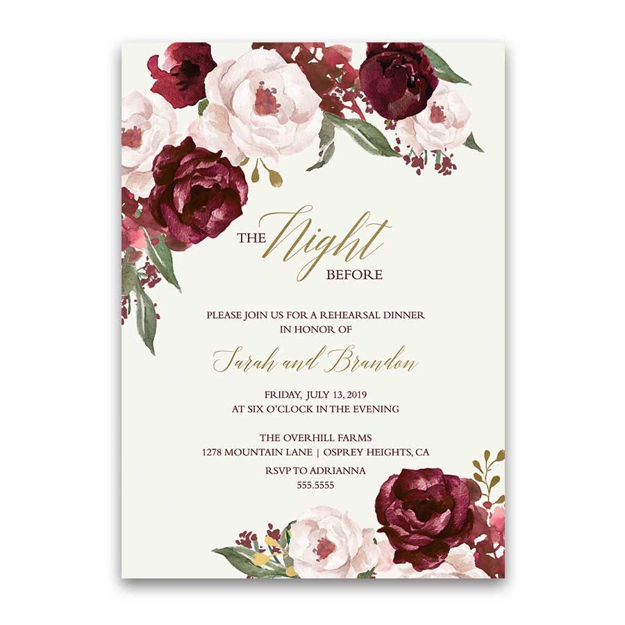 Wedding Invite Layout: Floral Wedding Rehearsal Dinner Invitations Burgundy Gold