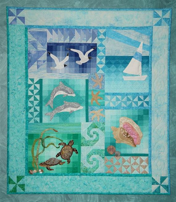 By The Sea Wall Quilt Pattern By Donnaburkholder On Etsy 25 00 Ocean Quilt Turtle Quilt Beach Themed Quilts