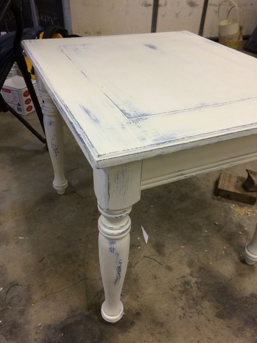 Dark Blue And Old White Distressed End Table Distressed End