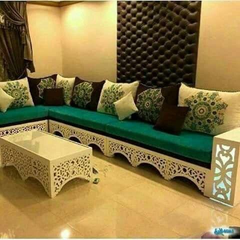 salon marocain vert – blanc in 2019 | Sofa design, Home ...