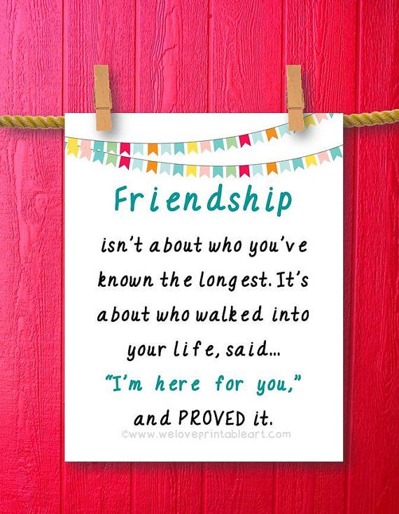 Friendship Gift Friend Best Long Distance Moving Away Quotes Sayings Ideas Wall Art Decor Print