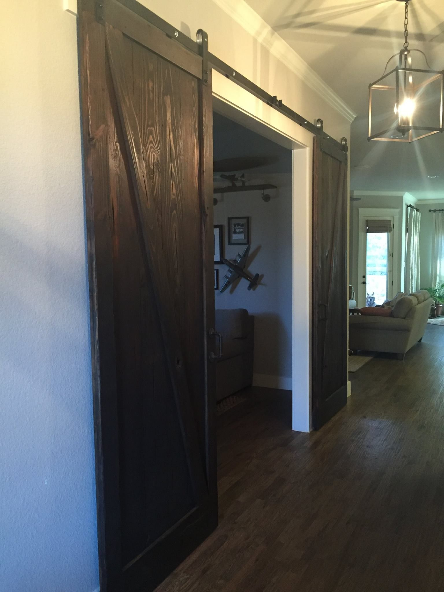 Dark Stained Sliding Barn Doors Created Using Our Reclaimed Wood Antique Lumber Company Reclaimed Doors New Homes Barn Doors Sliding