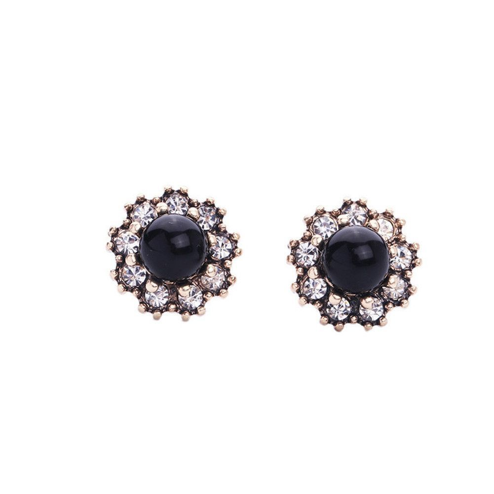Simple Black Crystal Round Stud Earrings
