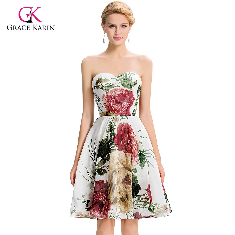 Cheap short bridesmaid dresses under grace karin floral print