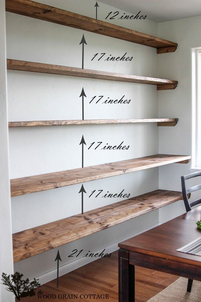 Floating Shelves Cottage office Open shelving and Wood grain