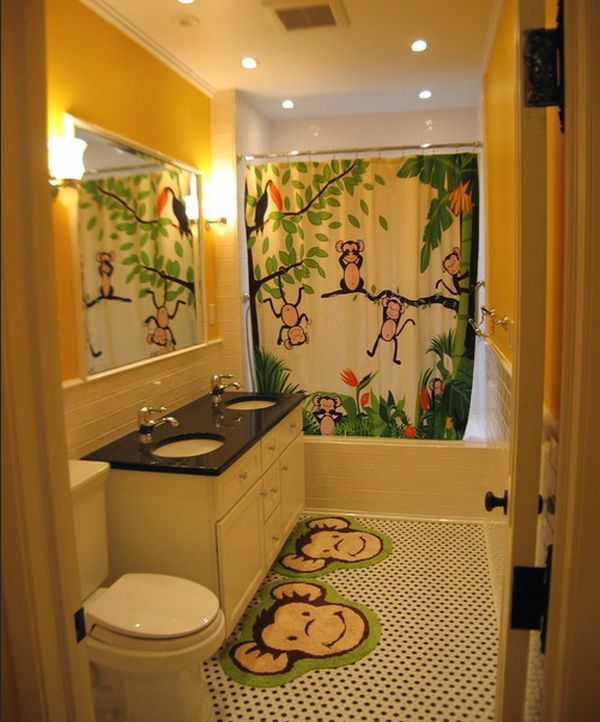 Playful And Vivid Jungle Theme Surely Lights Up This Bathroom