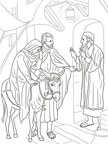 No Room At The Inn For Mary And Joseph Coloring Page From Jesus
