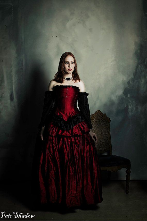 $725.00 Victorian Gothic Wedding Dress- Red Silk and Black Accents ...