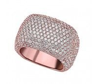 Sterling Silver Rose Gold Plated CZ Cluster Ring Size 7