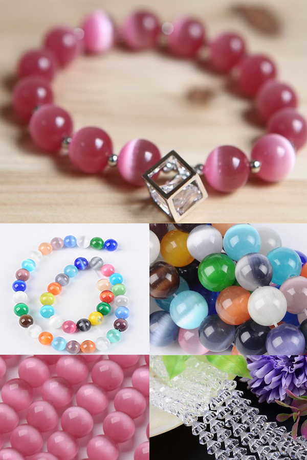 PandaHall Customer Show Cat Eye Beads Charm Bracelet