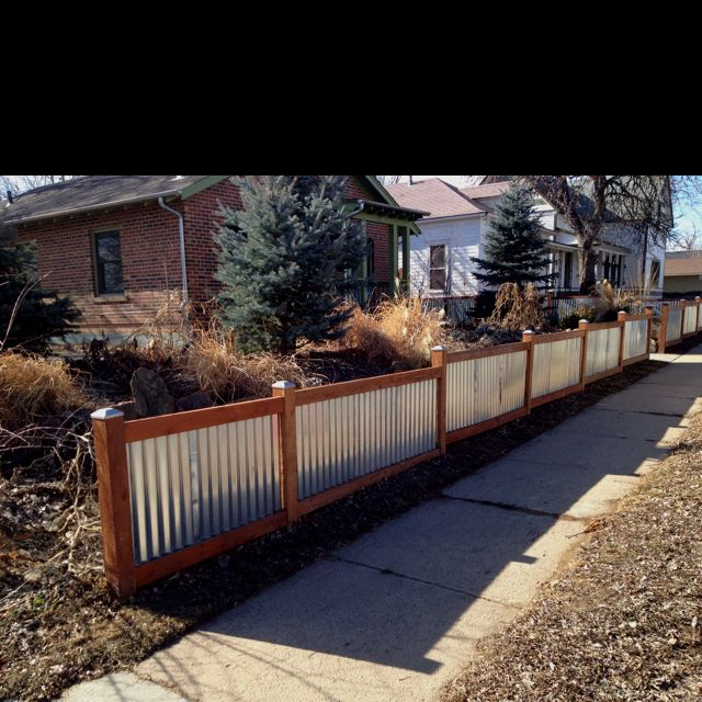 Gal Corr Metal And Wood Fence Industrial Metal Style