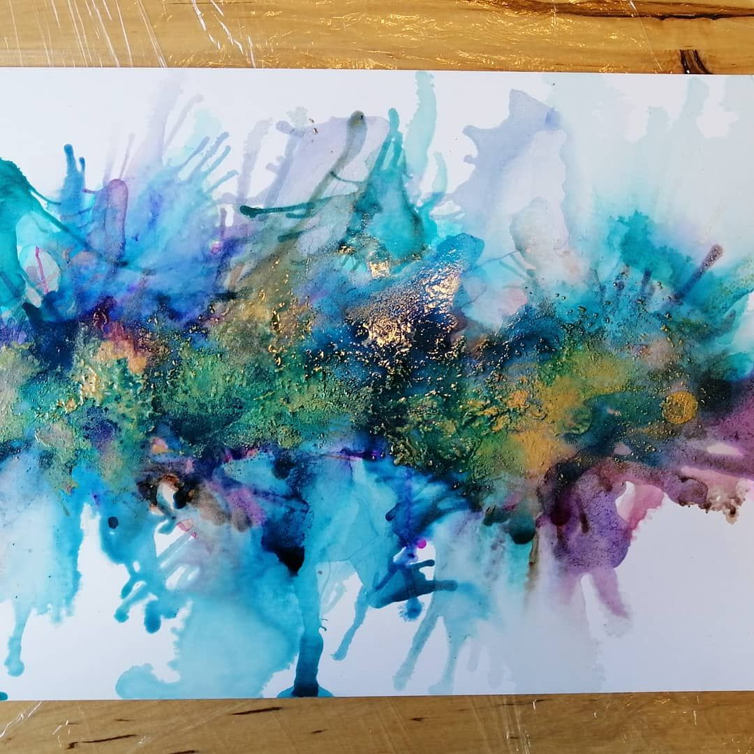 Original watercolor and alcohol ink on yupo paper seascape cloud soace scene psychedelic abstract blue and silver