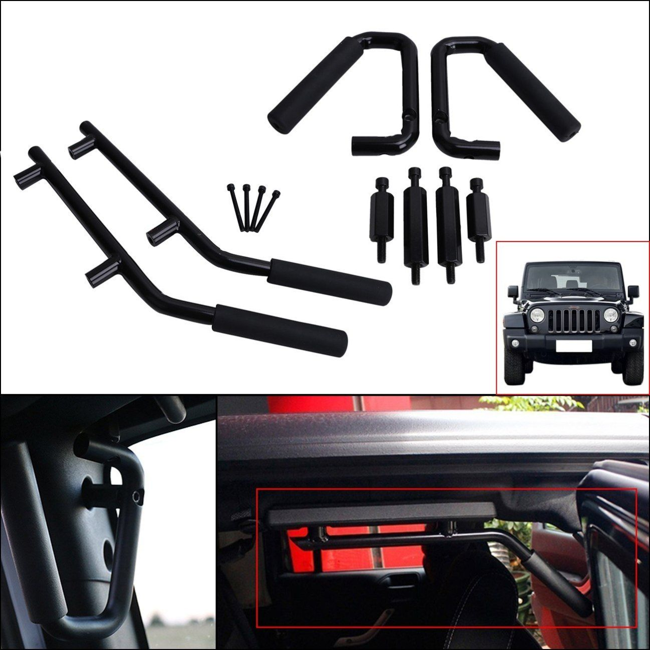 Jeep Wrangler Jk Parts Front Rear Grab Handles Roll Bar Grab