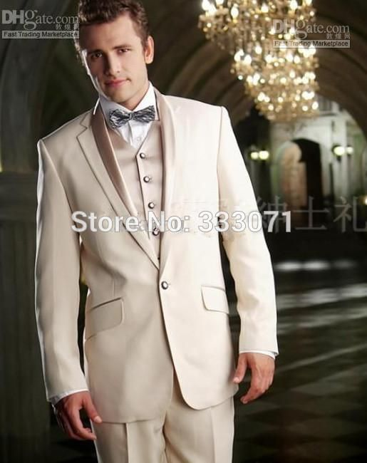Custom made tailor 2015 Hot Beige Groom Suits Tuxedos Slim fit ...