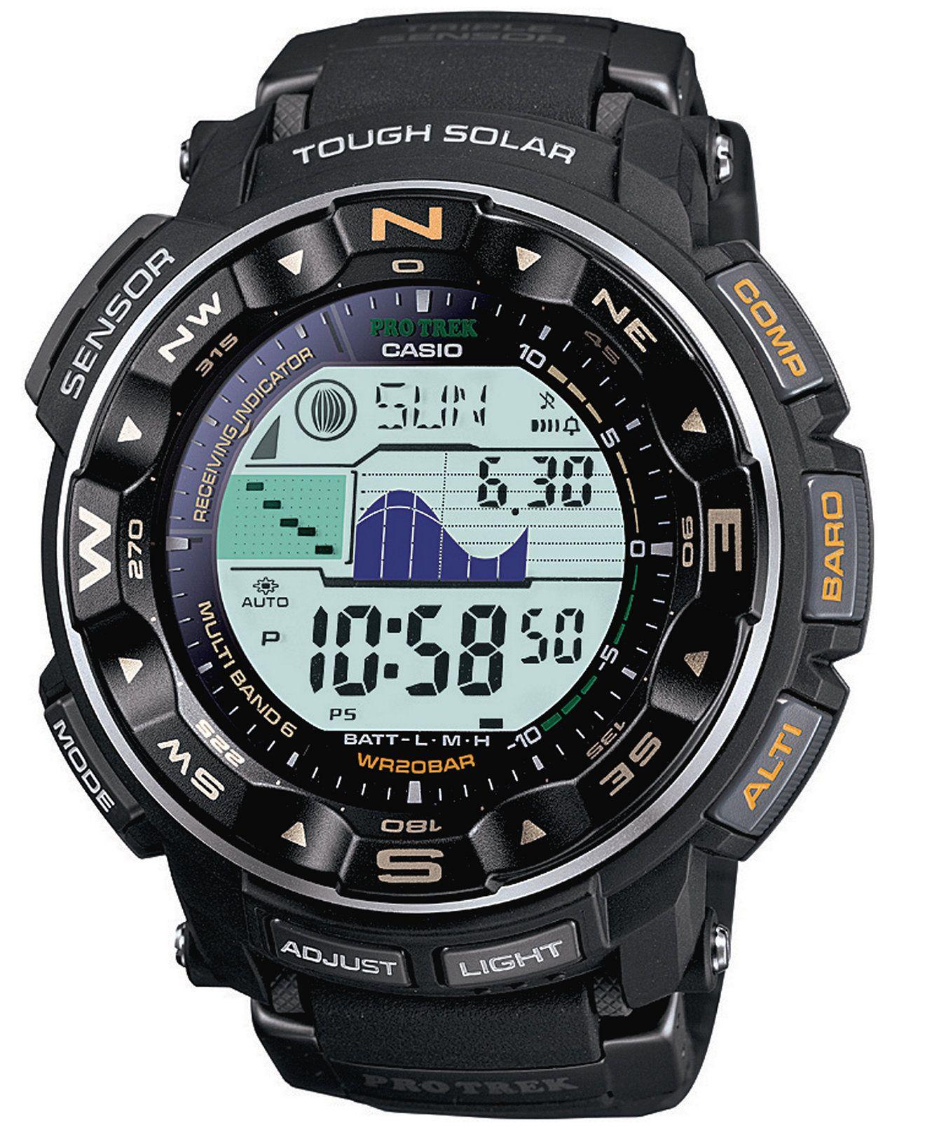 c4e9b51b725 G-Shock Men s Digital Pathfinder Black Resin Bracelet Watch PRW2500-1 - w  moon phases