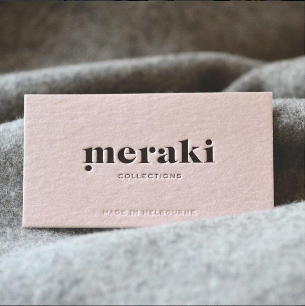 Meraki Logo & Meaning — Meraki Collections | Business Cards | Logo