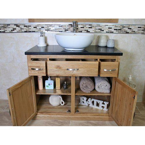 Kennedi Solid Oak 1000mm Free Standing Vanity Unit In 2020 Wooden Vanity Unit Vanity Units Bathroom Vanity Units