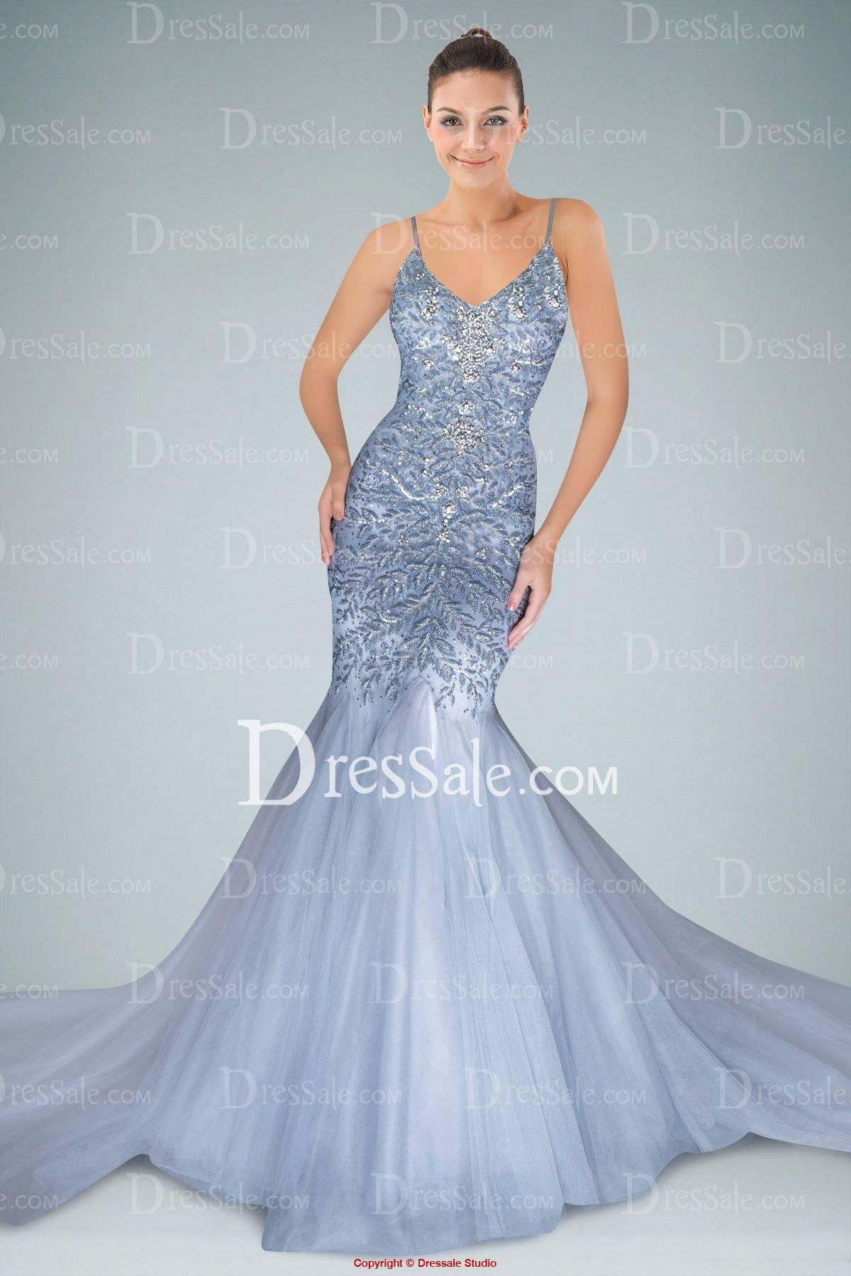Impressive Spaghetti Straps Mermaid Evening Dress with Appliqued ...