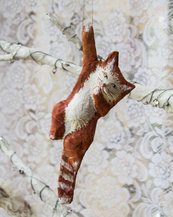 Ginger cat paper mache Christmas ornament