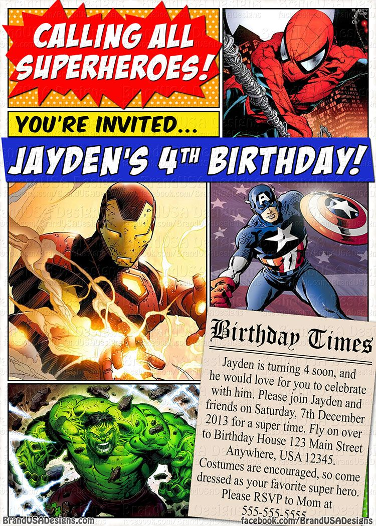 Superhero Custom Birthday Invitation (Marvel Comics) - Spider-Man ...