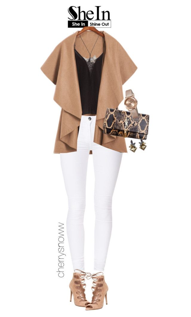 """""""Classy chic super trendy"""" by cherrysnoww ❤ liked on Polyvore featuring Dr. Denim, H&M, Office, Yves Saint Laurent and Akribos XXIV"""