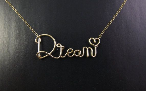 14k Gold Filled Wire Dream Necklace Cursive Name Rh Com Letters Alphabet