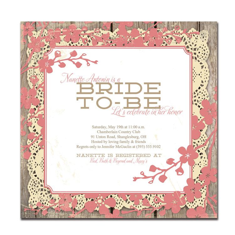 Rustic Bridal Shower Invitation Square Coral Pink Floral Lace Wood