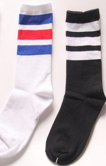 e639587ce13 Classic Long Three Striped Skate Socks Retro Old School of High Quality  Cotton for Men Harajuku