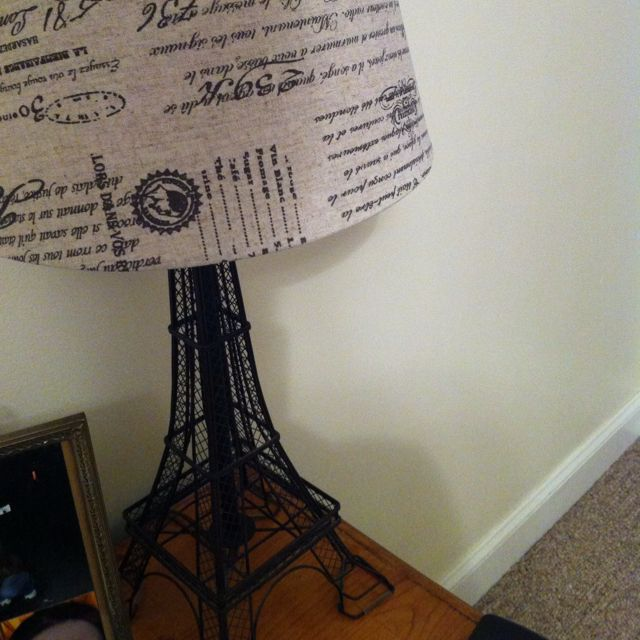 Parisian lampshade on my Eiffel Tower lamp. My apartment is a huge ...