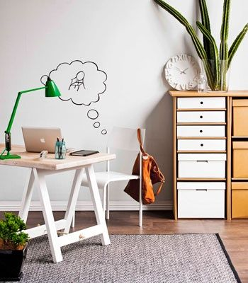 Home Office:  A whole #wall finished in whiteboard paint #decor