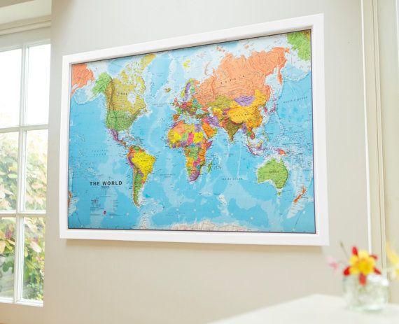 Framed World Map Poster by MapsInternationalUK on Etsy.   Etsy UK ...