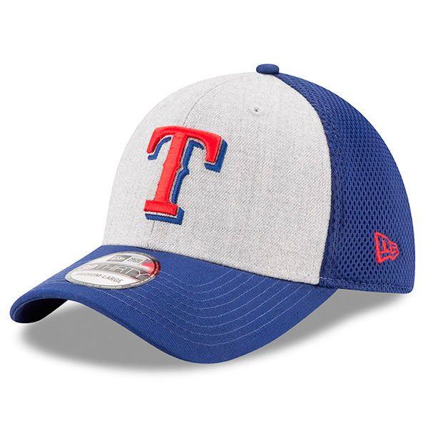 Texas Rangers New Era Neo 39THIRTY Flex Hat - Heathered Gray/Royal - $25.99