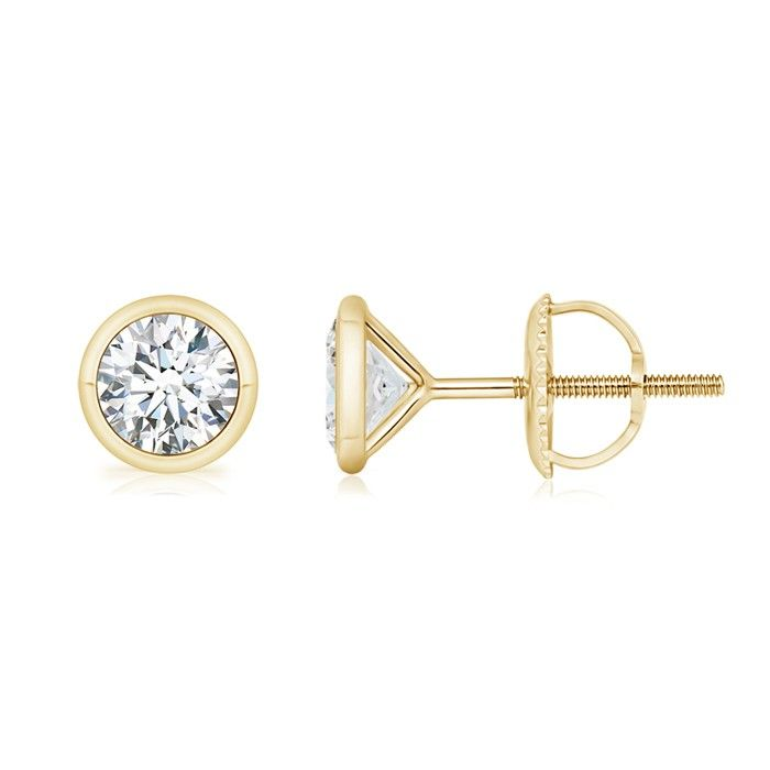 Angara s Round Brown Diamond Stud Earrings in White Gold