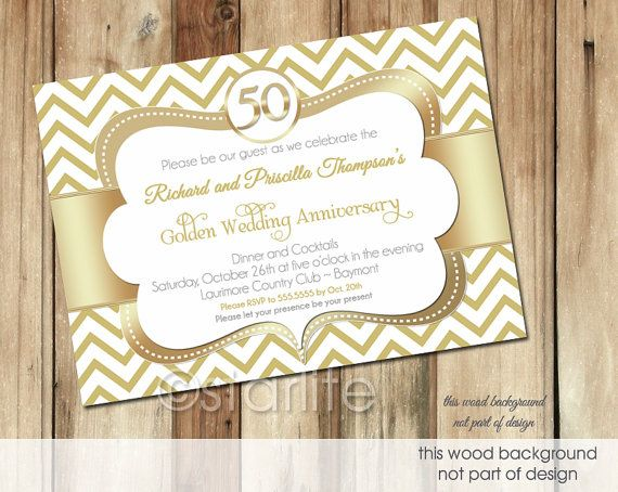 50th Wedding Anniversary Invitation Ideas: Gold White Chevron