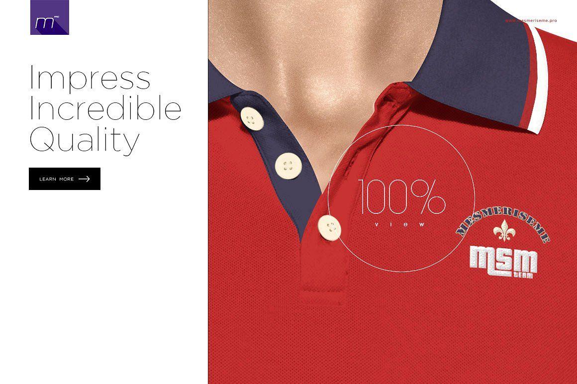 Women Polo Shirt 3/5 Buttons Mockup textbadgelogotype