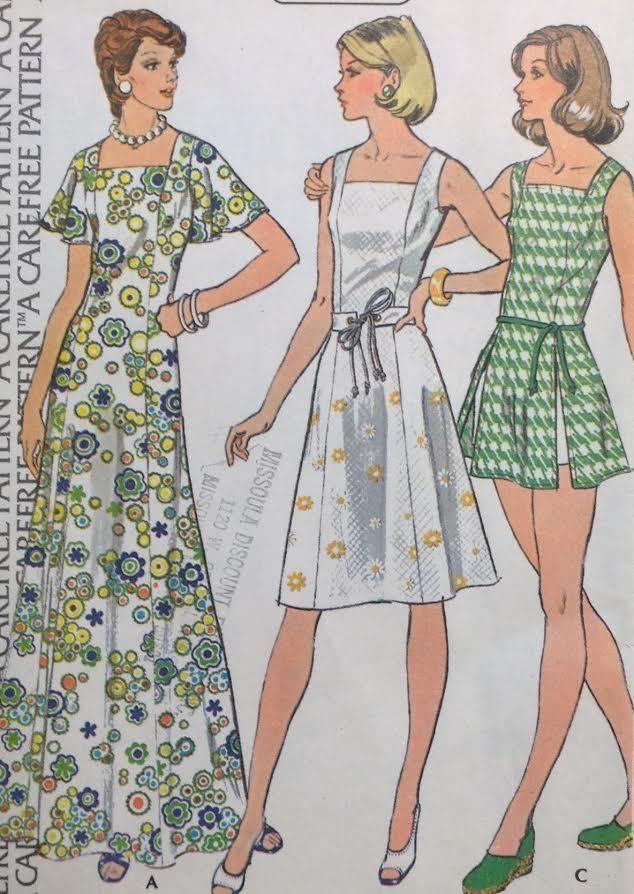 UC Vtg McCalls 4073 Sew Pattern Caftan Muumuu Maxi Dress Sun Plus ...