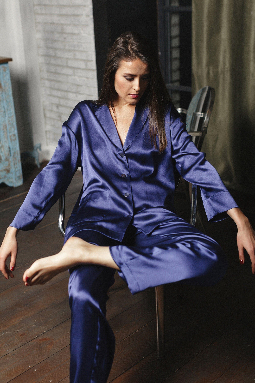 2018 Spring women Silk Pajamas Set 3 Pcs Striped Sexy