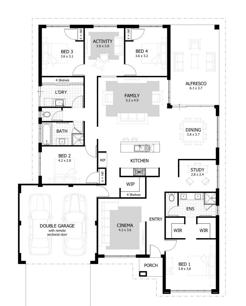 L shaped with detached master bedroom  Bungalow floor plans, 9