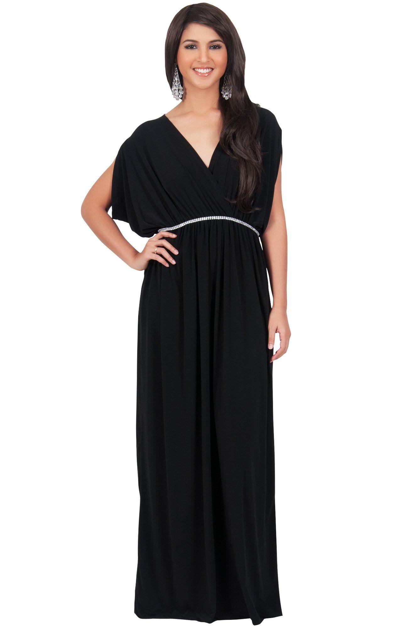 Koh koh plus size womens long cocktail empire waist short sleeve